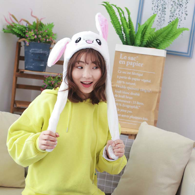 Newly Cute Bunny Plush Hat Funny Playtoy Ear Up Down Rabbit Gift Toy for Kids Girls Girlfriend(China)
