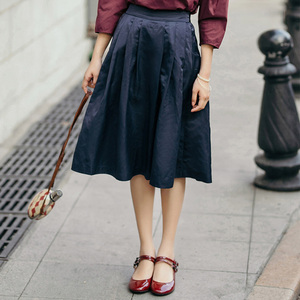 Image 3 - INMAN Women Spring Autumn Contrast Color Elegant Lady Nice Middle Skirt