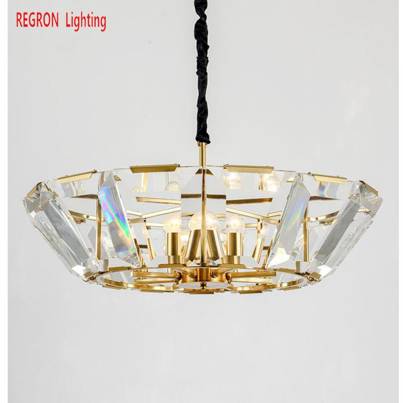 Regron Art Chandelier Italy Style Gold Crystal Chandelier Lamp Duplex Floor Led Suspension Luminary For Lounge Gallery Villa
