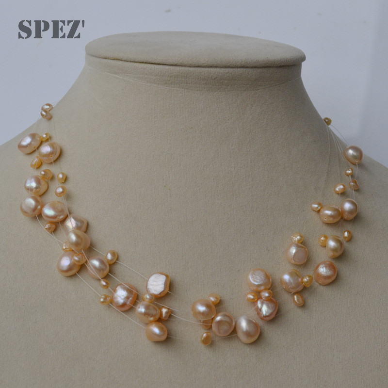 Image 3 - Natural freshwater pearl necklace for women  Baroque Pearls 4 8mm 5 Rows Bohemia Handmade Jewelry Fashion spez-in Necklaces from Jewelry & Accessories