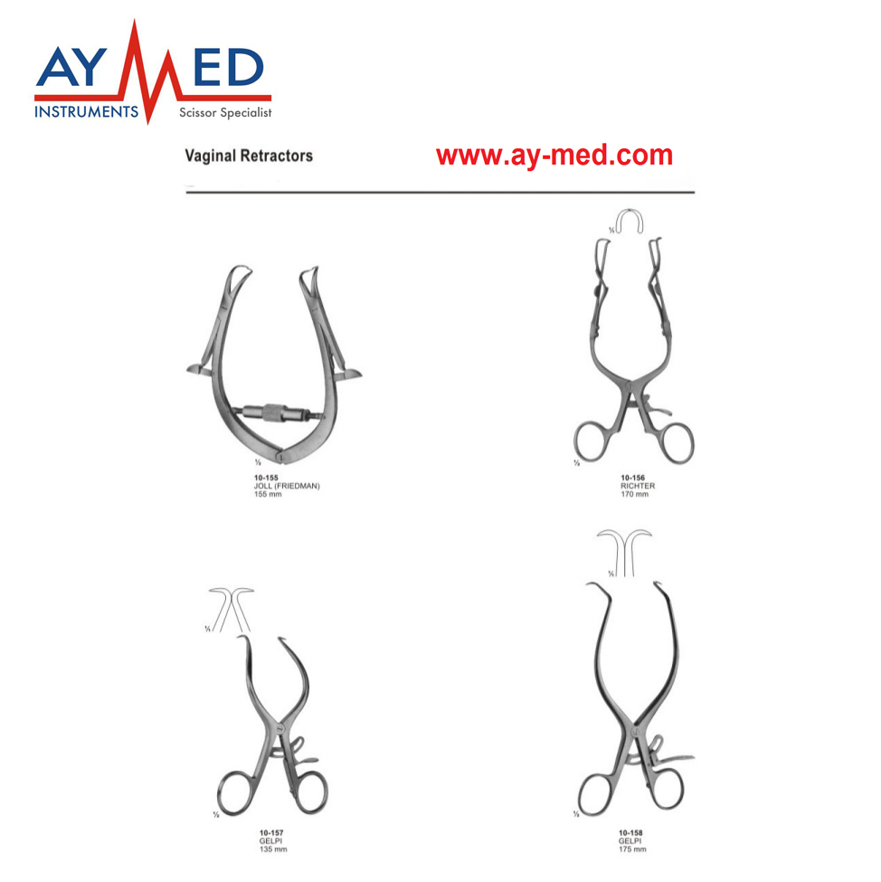 Any 4 pieces 5 set joll & richter and gelpi vaginal retractor - gynecology surgical instruments scissors richter 12224255111 28