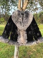 Женские черные реального норки Меховая куртка Silver Fox меховой воротник стриженной норки куртка Silver Fox Меховая куртка шарф манжеты теплое зим
