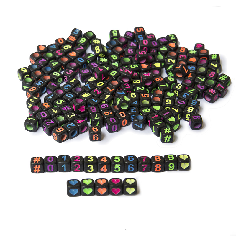 200 Pcs Neon Colorful Arabic Numerals Beads Letter Beads Black Cube Beads Puzzles DIY Loom Bands Bracelets Jewelry Toys 6x6mm