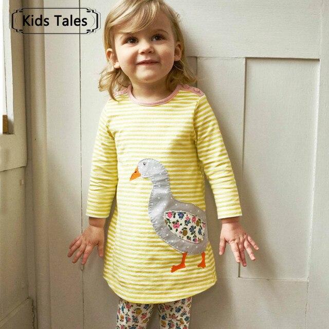 2018 платье принцессы Свадебное платье для девочек с Животные аппликации хлопок Повседневное Туника детское платье Детская одежда SQ360