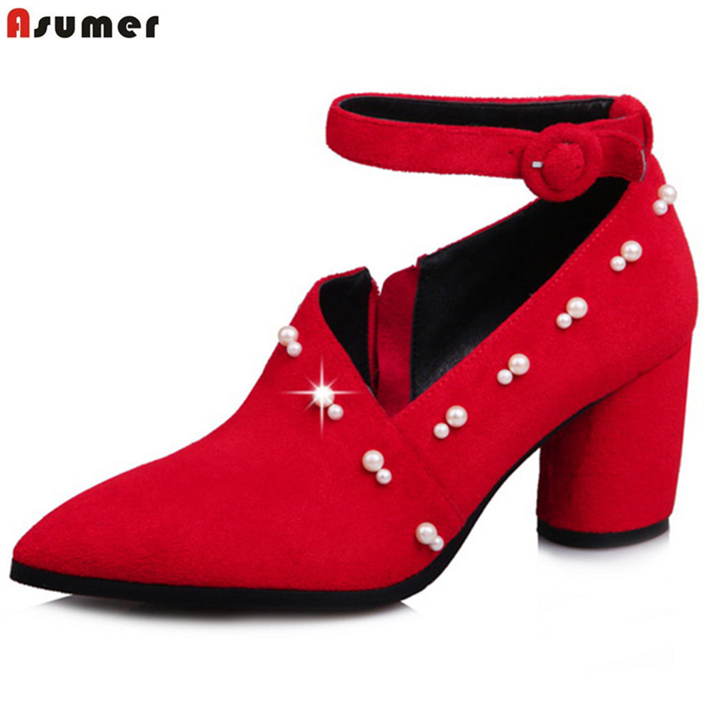 ASUMER black red fashion spring autumn ladies pumps pointed toe zip buckle flock women high heels shoes big size 33-43 memunia 2017 fashion flock spring autumn single shoes women flats shoes solid pointed toe college style big size 34 47