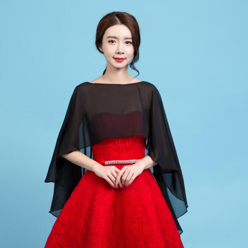 Long Chiffon Cape Shawl Wedding Jacket Women Shrug Bolero Wraps Black Off White Red One Size Etole Mariage Bolero Mariage