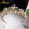 Hot Baroque Flower Crowns Magnificent Crystal Tiaras Handmade Rhinestone Wedding Diadem for Bride Pageant Hair Accessories HG277