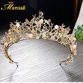 Hot Baroque Magnífico Cristal Tiaras Coronas de Flores Rhinestone Hecho A Mano Diadema de Boda para La Novia Accesorios para el Cabello Desfile HG277