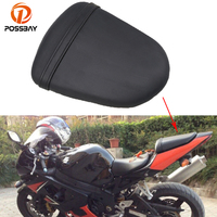 POSSBAY Motorcycle Leather Rear Passenger Seat Cafe Racer for Suzuki GSX R1000 K5 2005 2006 Seat Covers Pillion Cushion Pad