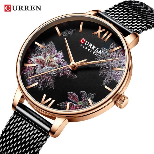 CURRENの新レディース腕時計女性ステンレス鋼ブレスレット腕時計女性のファッションクォーツ時計リロイ mujer カジュアル