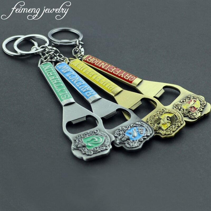 feimeng jewelry Hogwarts Bottle Opener Key Chain Slytherin Gryffindor Hufflepuff Ravenclaw School Badge Keyring Keychain For Men