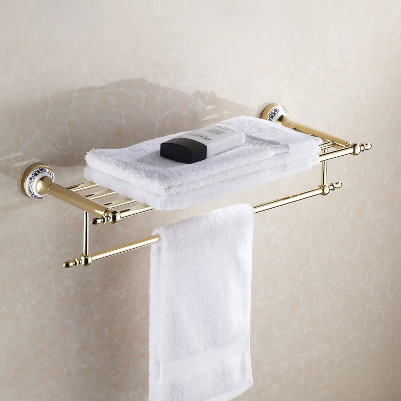 Gold Finish Bathroom Towel Holder Wall Mounted Towel Rack leyden luxury crystal gold finish towel bar clothes hook toilet paper holder towel ring wall mounted bathroom accessories set