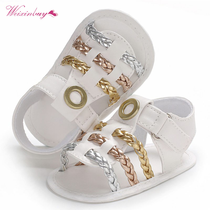 Summer baby sandals PU leather kids boys and girls Knitted sandals soft sole crib shoe children fashion Beach shoes