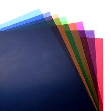 """12 """"x 12""""/30x30 cm Şeffaf 8 Renk Aydınlatma Filtre Jel Düzeltme Levhalar Video kamera Stüdyo Flaş Flaş Işığı"""