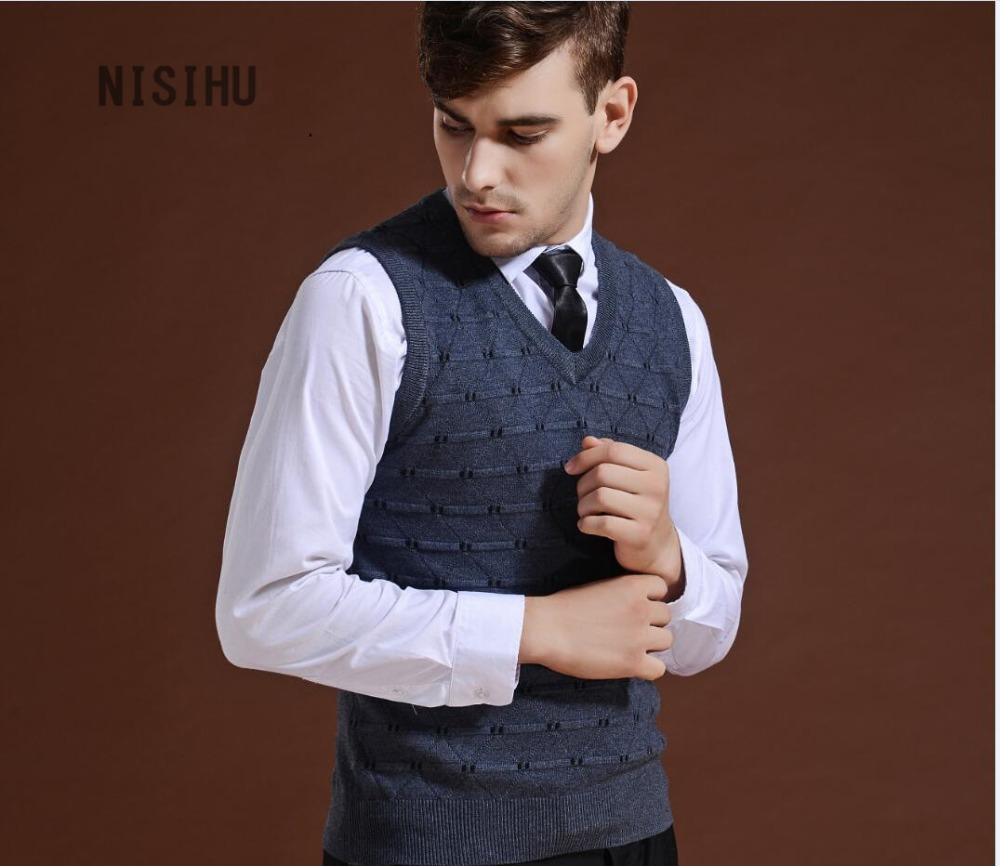 Hot sale men's argyle v neck sleeveless cashmere sweater jacquard ...
