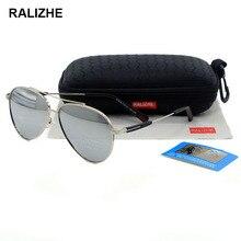 RALIZHE Mens Womens Aviation Metal Alloy Polarized Sunglasses Silver Mirror Driving Sun Glasses TAC UV400 Pink Light Purple Lens
