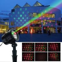 RF Afstandsbediening Outdoor Schijnwerper Waterdichte Laser Schijnwerper Rood en Groen Laserlicht met Kerst Patern US/EU Plug Type
