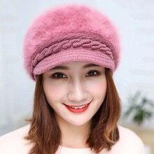 Modelos explosivos punto sombrero de otoño e invierno femenina tapa boina  de piel de conejo salvaje caliente gorro de lana de co. a34e31541a05