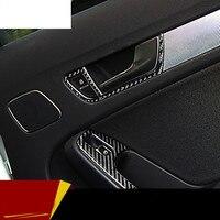 Carbon fiber door handles frame cover trim auto accessories interior car doorknob box modified strip 3D stickers for Audi A4 A5