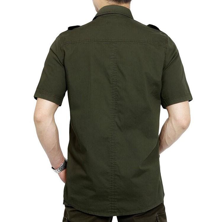 Plus Size xxxxxl Summer Men\'s 100% Cotton Shirts Solid Color Fitness Dress Short Sleeve Shirts Casual Outdoor Men AFS JEEP 5001 (2)