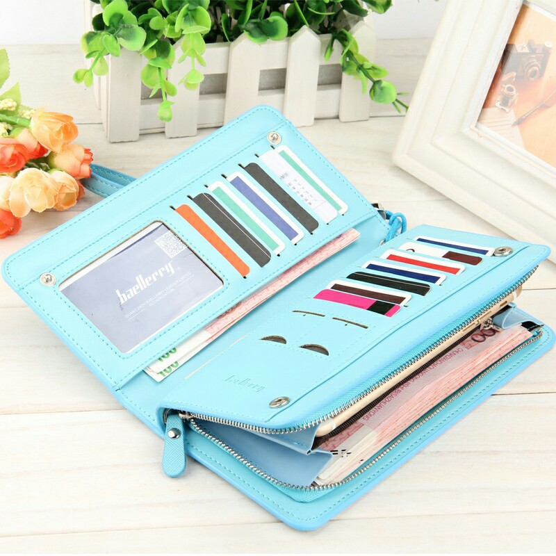 feminino Leather Wallet Color : Red, light Red, black, blue, yellow, light Blue, pink