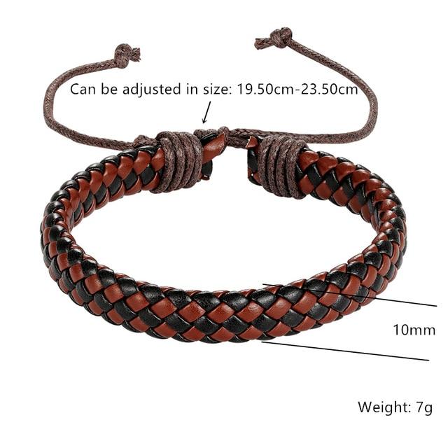Купить модный кожаный браслет в стиле панк мужской простой ретро многоцветные