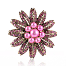 SUKI 2019 Pearl Brooch For Women Zircon Shell Flower Brooches Pins Natural Freshwater Fine Jewelry Seashell