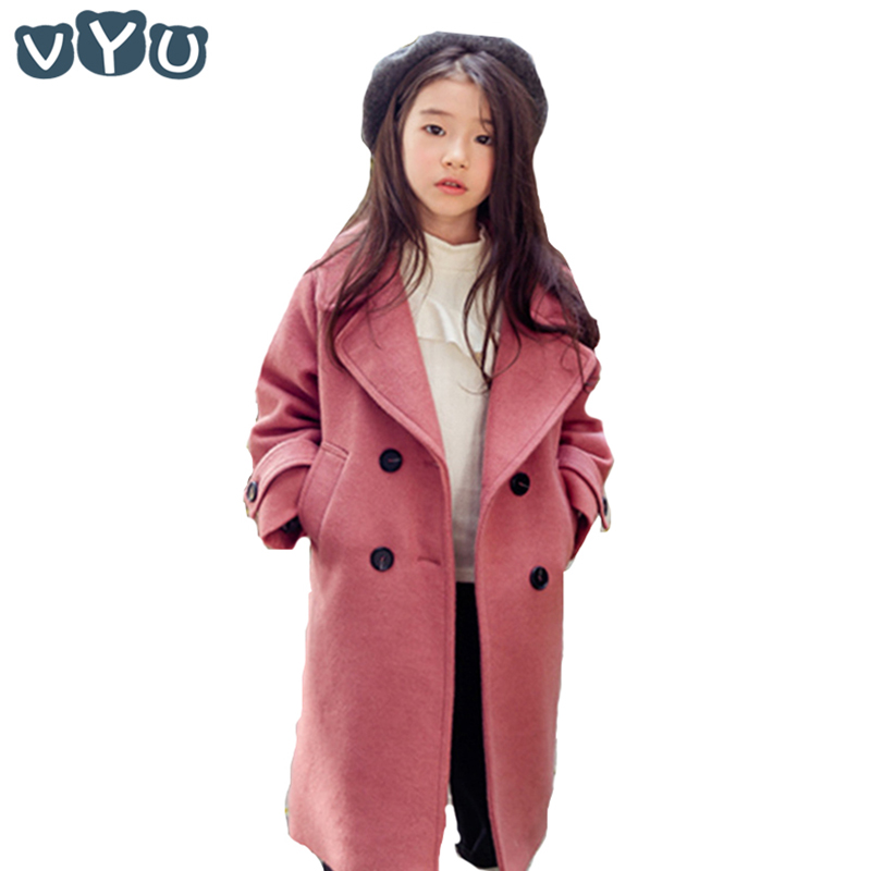 VYU Kids Girls Overcoat New Autumn Winter 2018 Woolen Coat Lapel Thickening Windproof Warm Long Outwear Teens Coats 2018 winter girls wool coats kids warm fashion lapel long sleeve collar girls clothes woolen coat fit 4 10t