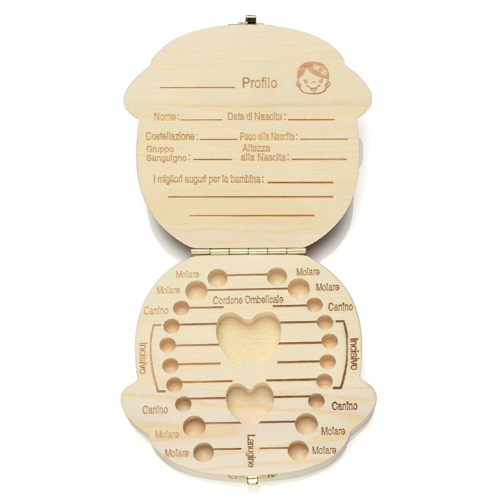 Children'S Baby Wooden Baby Baby Teeth Box Collection Commemorative Tooth Shape Storage Preservation