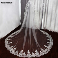2017 Real Photos One Layer Lace Edge Wedding Veil High Quality 2.2 Meters Long Bridal Veil with Comb Voile Mariage