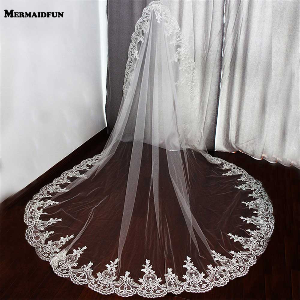 2019 Իրական լուսանկարներ One Layer Lace Edge Wedding Veil High Quality 2.2 Meters Long Bridal Veil with Comb Voile Mariage