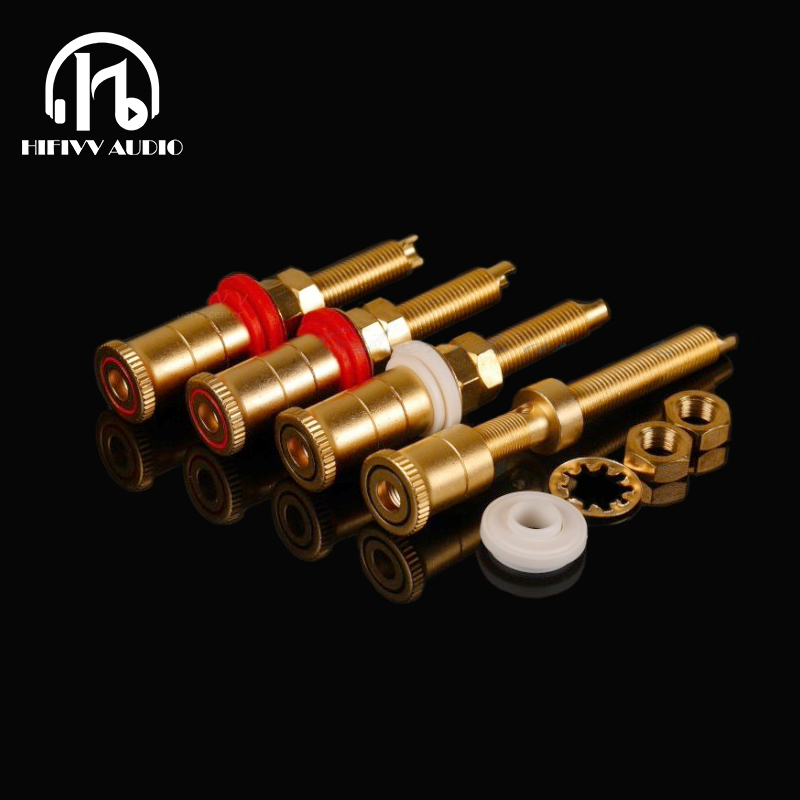 Hi End Pure Copper Speaker Plug Socket Hifi Audio Speaker Connector Amplifier Terminal Binding Post Banana Plug Socket Connector