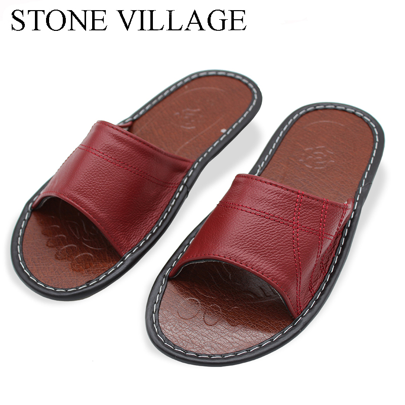 STONE VILLAGE New Genuine Leather Home Slippers Quality Women Men Slippers Non-slip Cool Indoor Shoes Men & Women Summer Sandals