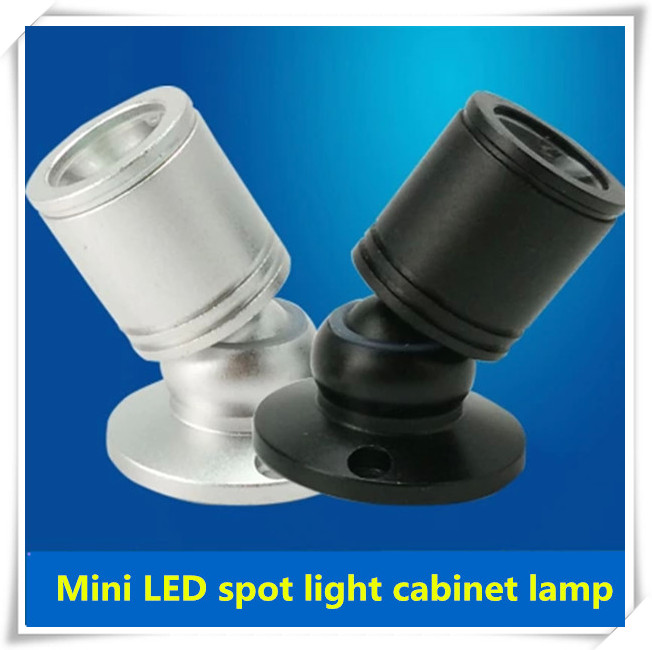 By DHL Wholesale 20pcs/lot 1W Surface Mounted LED Cabinet light, mini led spotlight for super market,silver and black