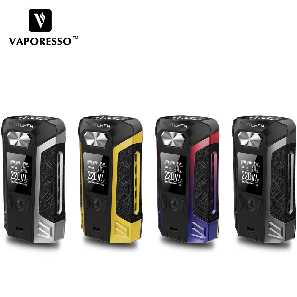 Vaporesso 220W Switcher Box Mod electronic cigarette Vape Box mod for NRG Tank Atomizer 510 Thread Compatible no 18650 Battery orginal ijoy maxo zenith box mod 300w no 18650 battery for ijoy rdta 5 tank atomizer electronic cigarette mod 510