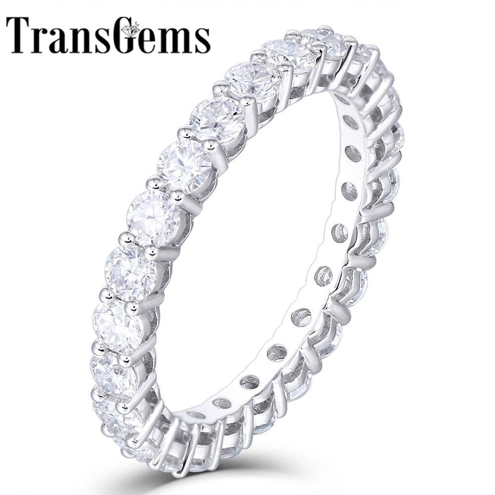 TransGems 14K 585 White Gold 1 2CTW to 1 8CTW 2 5mm F Color Moissanite Full