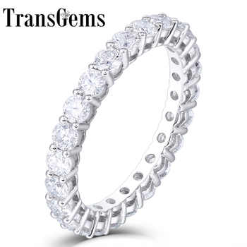 TransGems 14K 585 White Gold 1.2CTW to 1.8CTW 2.5mm F Color Moissanite Full Eternity Wedding Band for Women Gift Dailywear ring - DISCOUNT ITEM  5% OFF All Category