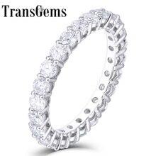 TransGems 14K 585 beyaz altın 1.2CTW to 1.8CTW 2.5mm F renk Moissanite tam sonsuzluk düğün Band kadınlar için hediye günlük yüzük