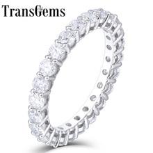 Transgems 14 k 585 ouro branco 1.2ctw a 1.8ctw 2.5mm f cor moissanite eternidade completa casamento banda para presente feminino dailywear anel