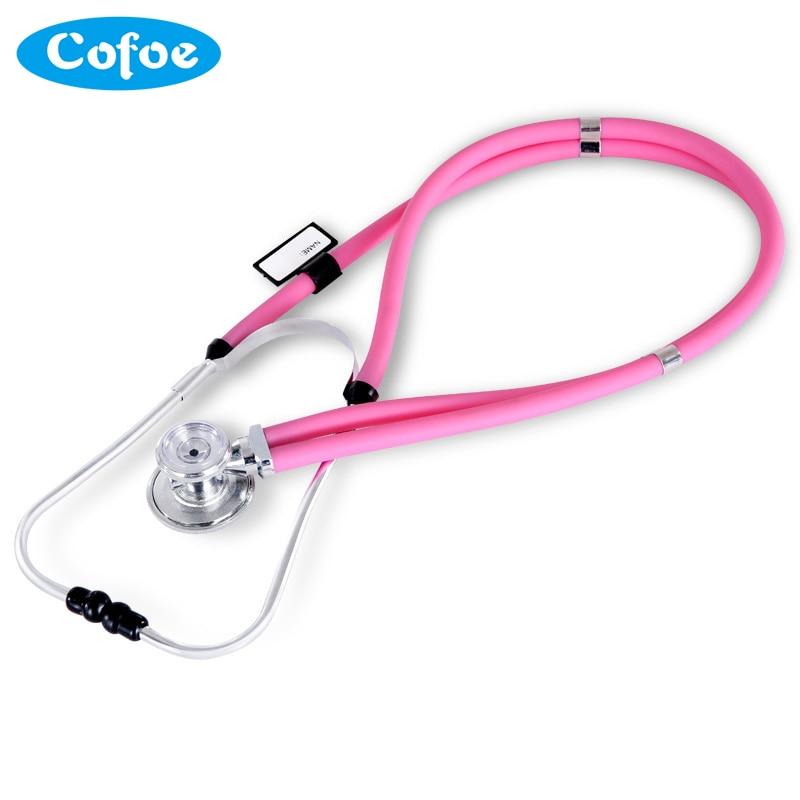 Cofoe Dual Head Stethoscope Medical Estetoscopio Double Head Long Soft Tube Probe Measure Monitor Angiocarpy Multi Function