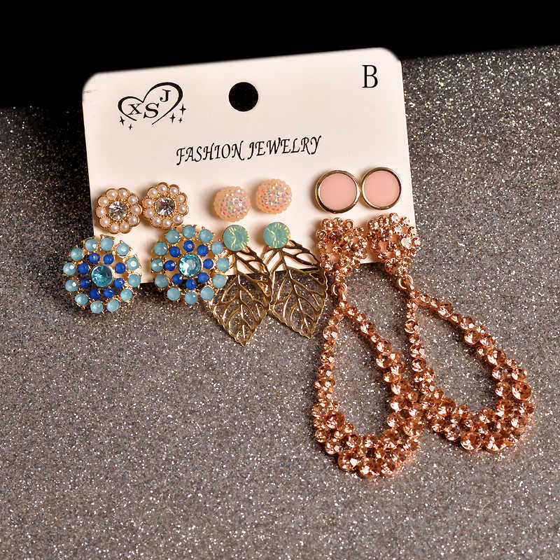 2019 newly designed women's jewelry wholesale girls' birthday party stud mix and match beautiful 6 pairs /set earrings gift