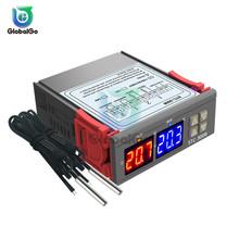 Double Display Two-way Thermostat Double Probe Temperature Controller Sensor Two Relay Output AC110-220V DC24V 12V gsm temperature monitoring sms alarm report email data log report two relay output and two input port