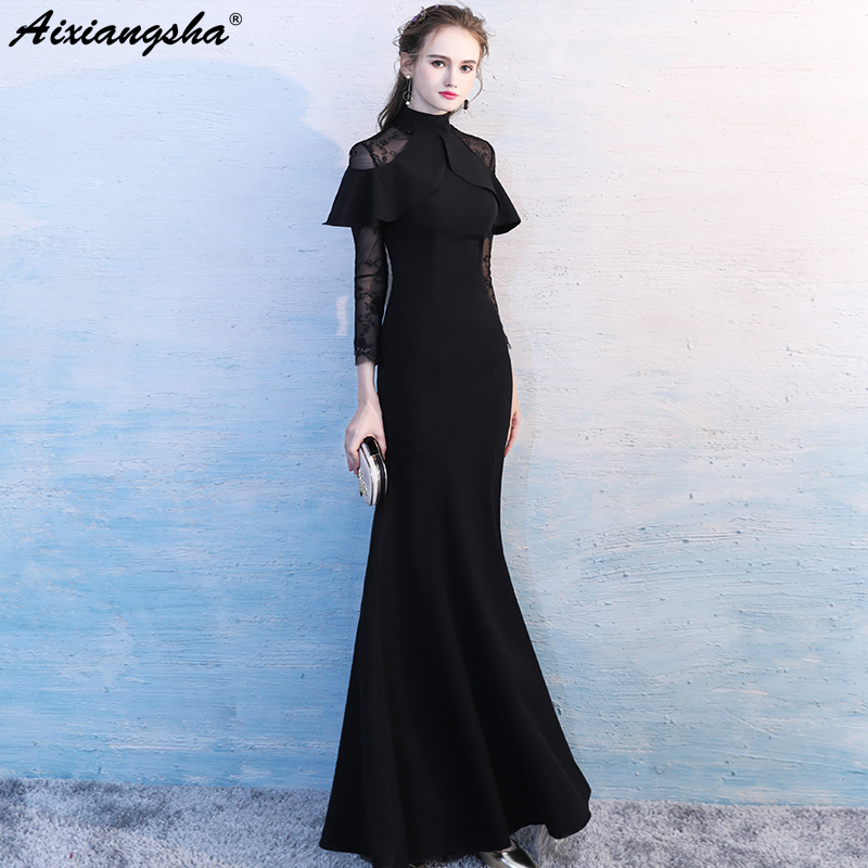 Lace Mermaid Evening Dress Elegant High Neck Three Quarter Floor-Length Abendkleider Long Dress Robe Longue vestidos largos
