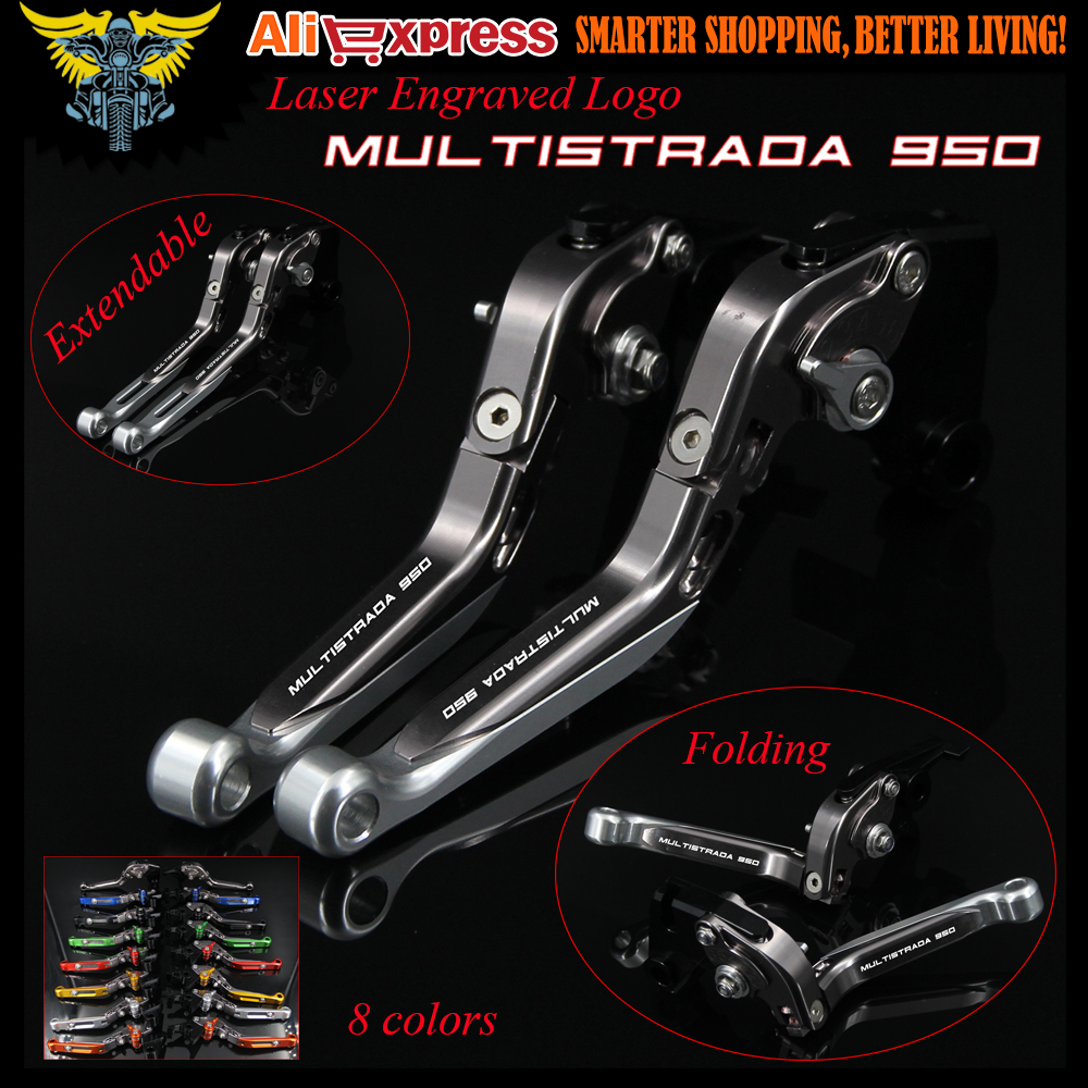 Laser Engraved Logo Sliver&Titanium For Ducati MULTISTRADA 950 2017 CNC Folding Extendable Motorcycle Brake Clutch Levers free shipping for ducati multistrada 1200 s m1100 s evo motorcycle accessories cnc adjustable folding brake clutch levers red