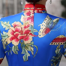 Elegant Floral Chinese Female Qipao Women's Classic Satin Long  Dress