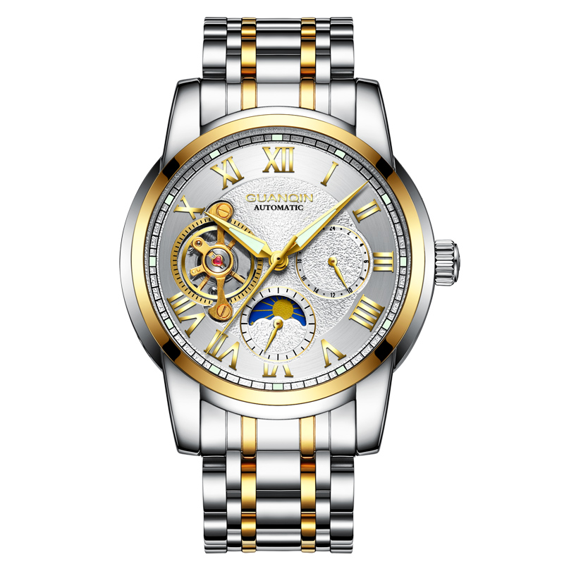 GUANQIN GQ16061 watches men luxury brand Mens Tourbillon Moon phase automatic mechanical watch Stainless steel luminousGUANQIN GQ16061 watches men luxury brand Mens Tourbillon Moon phase automatic mechanical watch Stainless steel luminous