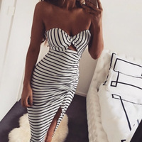 New Recommend Classic Striped Dresses Women Evening Midi Dress 2019 Summer Women's Sleeveless Sexy Bandage Vestidos