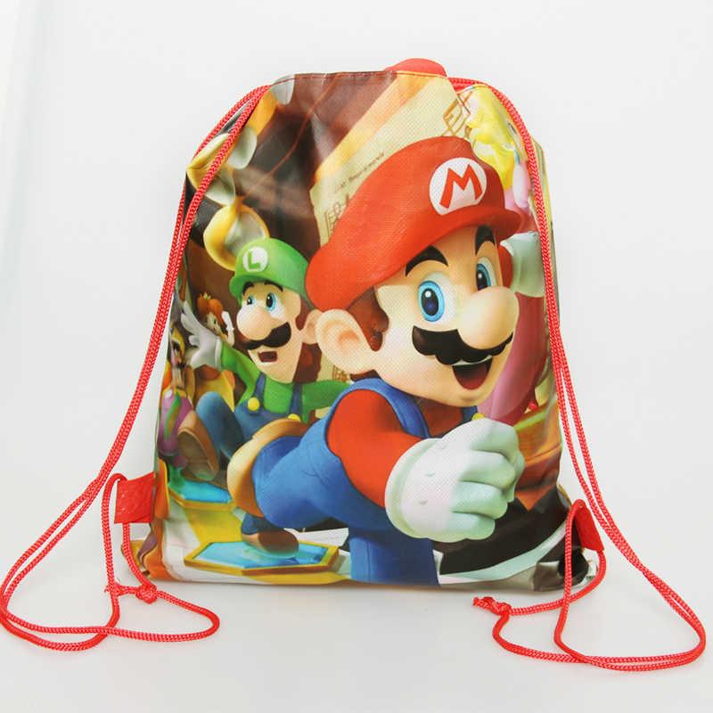 1 Máy Tính Nhỏ Super Mario Bros Chủ Đề Sinh Nhật Quà Tặng Không Dệt Dây Rút Goodie Túi Trẻ Em Ủng Hộ Bơi Trường ba Lô