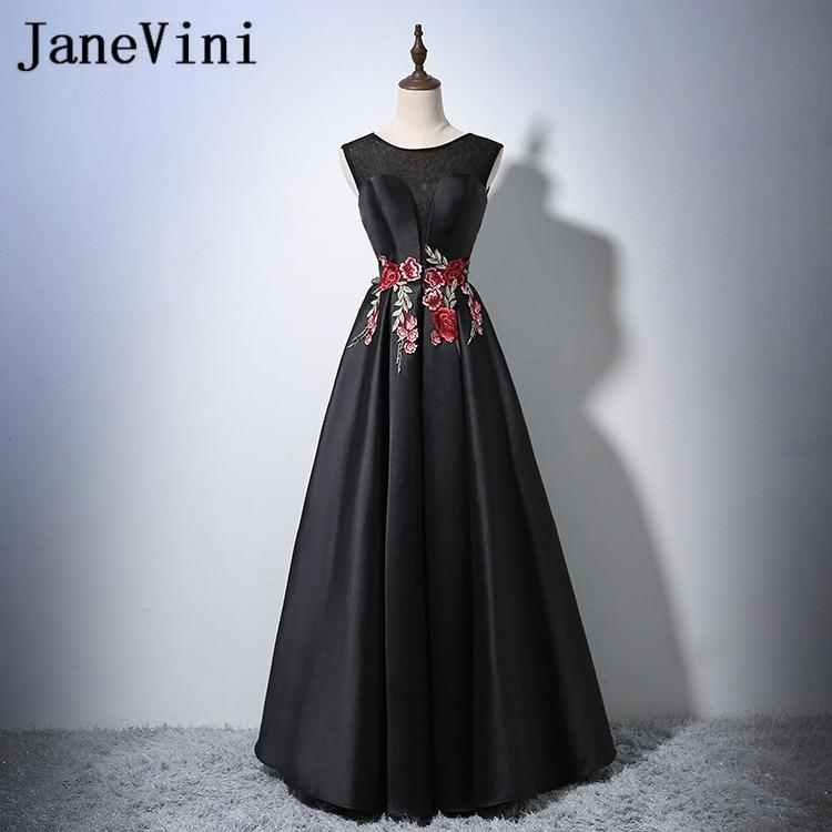 JaneVini 2018 Cheap Black A-Line Long   Bridesmaid     Dresses   Satin Sheer Scoop Neck Lace-up Back Floor Length Hot Sale Prom   Dresses