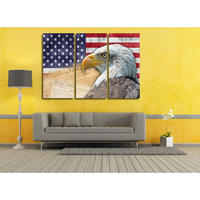 Modular Canvas Pictures Wall Poster 3 Panel American Flag Eagles For Living Room Home Decoration Cuadros Modern Painting Frame